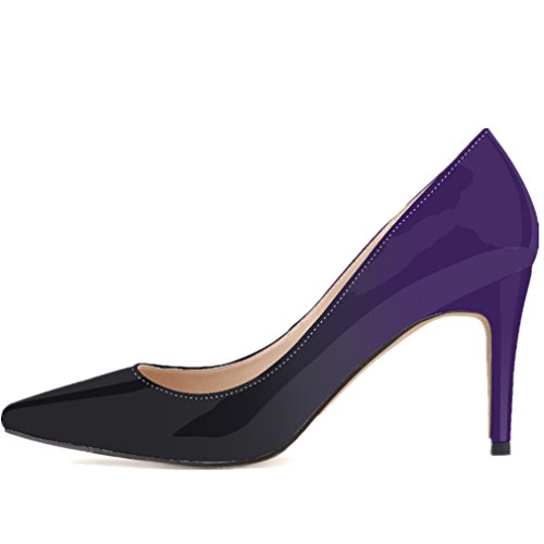 Pumps Purple Gradient Heels Pointy Toe SAMSAY Shoes High Women's Dress awAqwzXHW