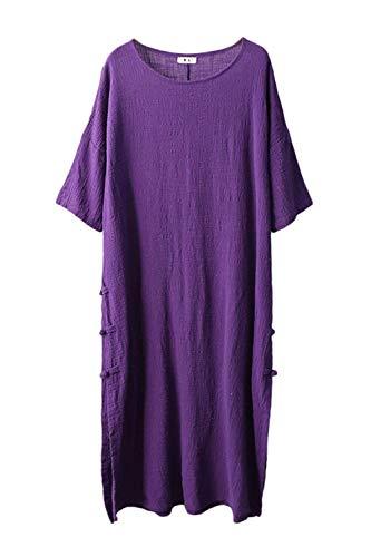 Manches Violet En Coton Violet Lin Décontracté Mi Taille coloré Courtes Soirée Robe Ample longue D'été Unique À De Oudan qwfXZRIzI