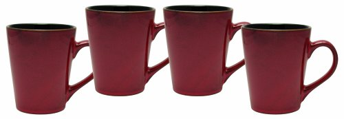 Culver Serenity Cafe Ceramic Mug, 12-Ounce, Russet, Set of 4