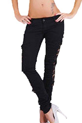 Fanvans Taille haute rtro dentelle crochet creux Jeans femmes Black