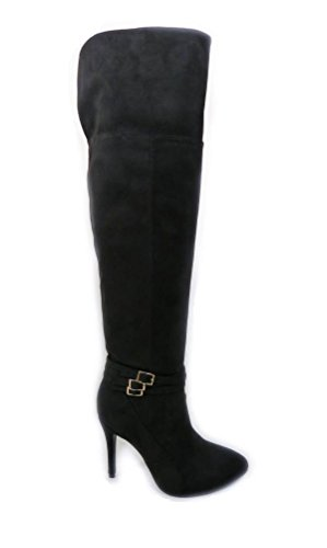 Block Black Size 401 Kitten High Party Womens Ladies Knee Heel SKO'S Mid Stretch Boots 7P0RqTw