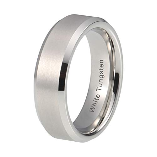 - iTungsten 6mm White Tungsten Carbide Rings For Women Men Wedding Bands Platinum Plated Satin Finish Beveled Edges