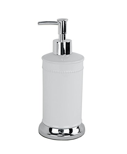(Ava – Style comes home - Refillable Lotion Pump / Soap Dispenser - for Bathroom or Kitchen Countertops – Florence Collection - White Ceramic with Chrome)