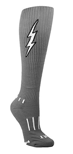 (MOXY Socks Women's Heather Grey with Black Knee-High Insane Bolt Soccer Socks)