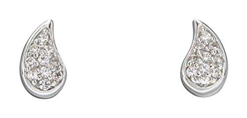 Elements Silver Womens Single Pave Teardrop Stud Earrings - Silver/Clear