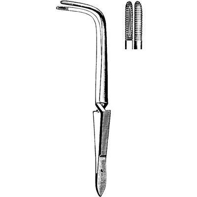 Sklar Instrument 76-1490 Jackson Cross-Action Forceps with Teeth, Angled, 9