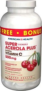 American Health Super Acerola Plus Chewable Wafers, 500 mg, Berry,