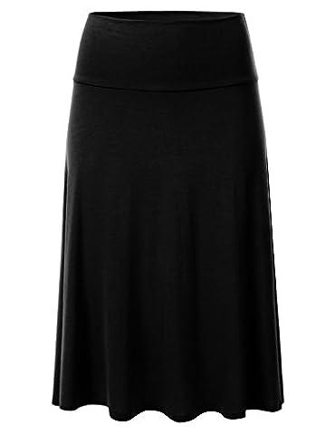 FLORIA Womens Solid Lightweight Knit Elastic Waist Flared Midi Skirt BLACK M (Midi Skirt Black)