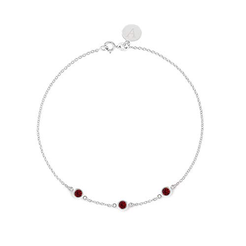 (TousiAttar Natural Ruby Bracelet - 3 Stone Bezel set - Solid 14K or 18K Gold - Natural Red Stone - Elegant Jewelry Gift for Girlfriend - Delicate July Birthstones - Free Engraving)
