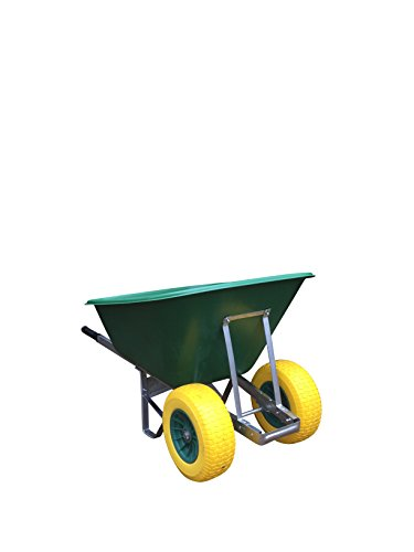 2 Wheeled Wheelbarrow 200L Green with Fatboy Wheels Puncture-Proof