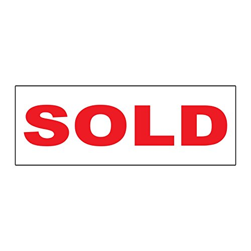 (Sold Red Durable METAL ALUMINUM Real Estate Rider Sign - 1 or 2 Side Print /6 in x 24 in One Side Print)