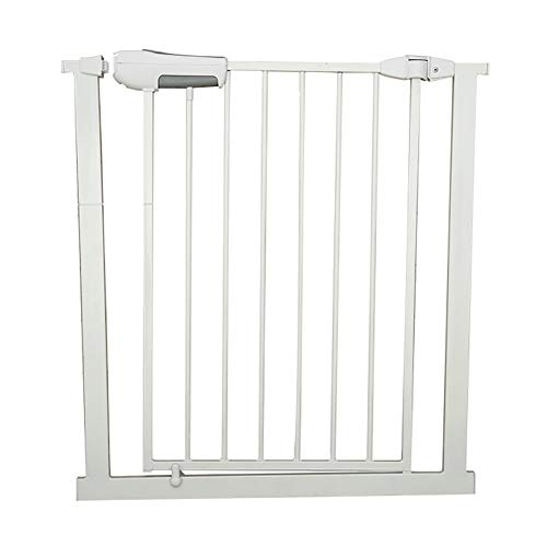 Baby Gates Extra Wide Metal Bbay Gates for Stairs, Preesure Mount Indoor Safety Pet Gates with Cat Door, Fits 65-184cm Wide, White (Size : 125-128cm)