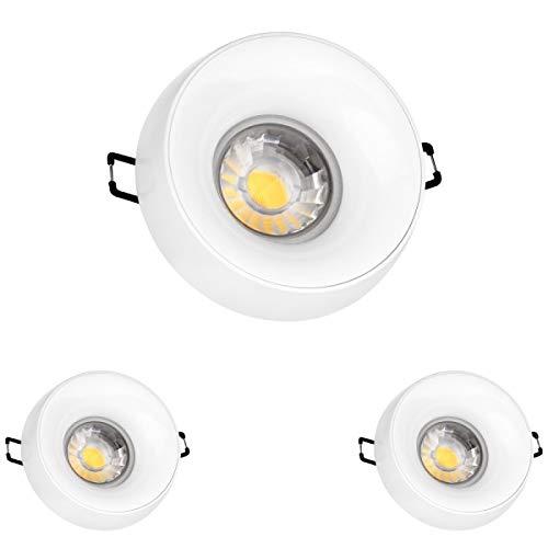 3er LED Einbaustrahler Set Weiß mit COB LED GU10 Markenstrahler von LEDANDO - 5W DIMMBAR - warmweiss - 40° Abstrahlwinkel - 50W Ersatz - A+ - COB LED Spot 5 Watt - Einbauleuchte LED rund