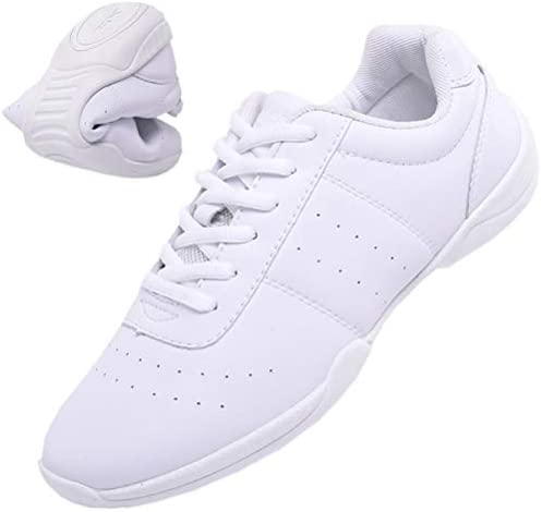 DADAWEN Adult Youth White Cheerleading Shoe Athletic Sport Training Competition Tennis Sneakers Cheer Shoe