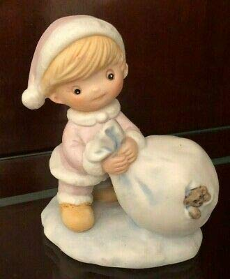 Homco Christmas Girl Figurine, 5613 Girl with Santa Bag