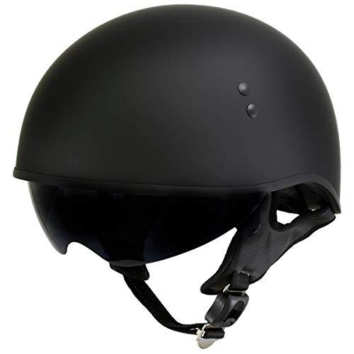 Outlaw T-72 'Black Widow' Flat Black Motorcycle Half Helmet with Drop Down Visor - Large