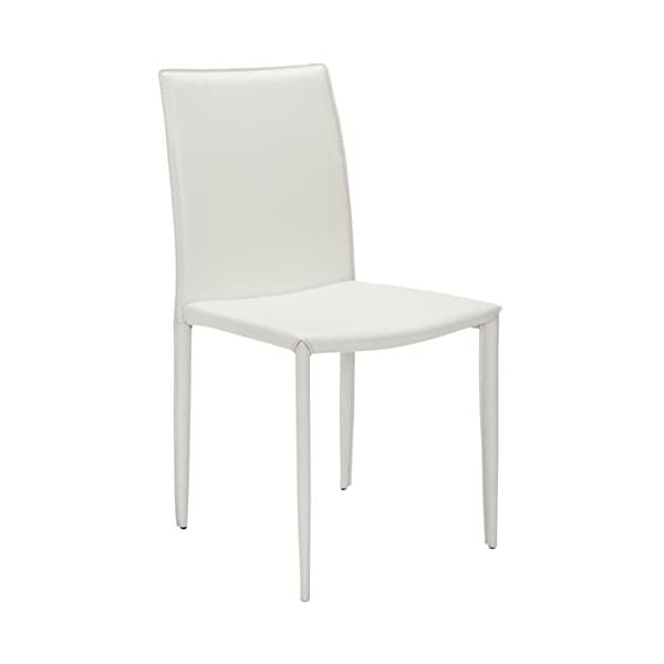 Safavieh Home Collection Karna Modern White Leather Dining Chair (Set of 2)