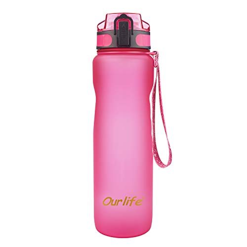 Sports Water Bottle 35oz 1000ml-Leak Proof Lid Bottle with BPA Free Tritan Plastic Water Bottles for The Gym,Yoga,Running,Outdoors, Cycling and Camping (Sport Water Bottle Pink)