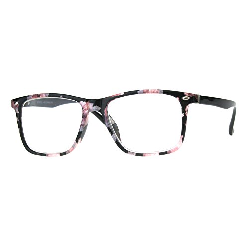 Womens Flower Print Thin Plastic Clear Lens Strength Reading Glasses Black Pink 1.75