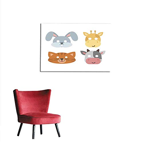 Painting Post Animals Carnival mask Vector Set Festival Decoration Masquerade and Party Costume Cute Cartoon Head Decor Isolated Celebration Vector Illustration Mural -