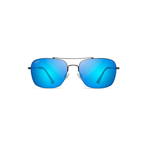 Maui Jim Lava Tube B786-02S | Polarized Satin Dark Gunmetal Aviator Frame Sunglasses, Blue Hawaii Lenses, with with Patented PolarizedPlus2 Lens Technology ()