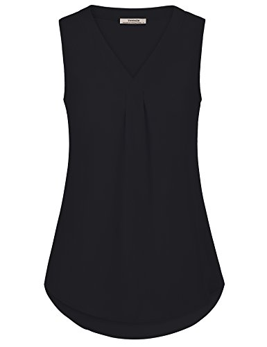 Youtalia Business Casual Clothes for Women, Ladies Sleeveless V Neck Pleated Solid Comfy Chiffon Vest Tank Tops Black X-Large