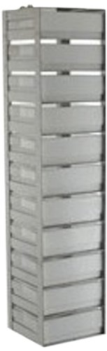 Alkali Scientific CF-11-2-S Stainless Steel Spring Clip Vertical Rack for 2'' Boxes, 24-3/16'' Height x 5-5/8'' Width x 5-1/2'' Depth, Holds 11 Boxes