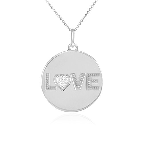 "14 ct 585/1000 Or Blanc ""LOVE"" Script-Diamant-Disc-Pendentif Collier"