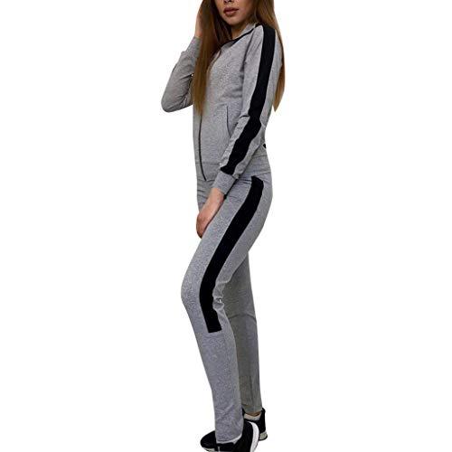 AgrinTol Women Casual Stripe Long Sleeve Zipper Pullove Sport Tops+Long Pants Set Gray (Earth Skinny Stripe)