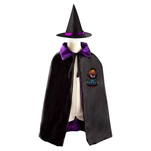 69PF-1 Halloween Cape Matching Witch Hat Pumpkin Princess Wizard Cloak Masquerade Cosplay Custume Robe Kids/Boy/Girl Gift Purple