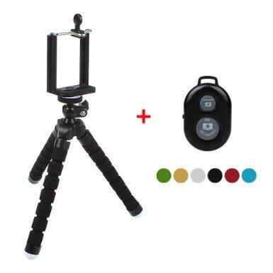 xhorizon(TM)MW8 Flexible MiniOctopusStilTripod Stativ mit Halterung für Smartphone, Kamera, Webcam mit Bluetooth WirelessFernauslöser für iPhone Samsung und anderen IOS / Android Phone - Schwarz