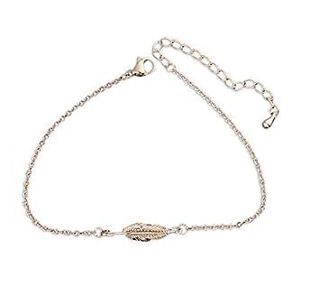 6cf2c8a15 PHONILLICO Bracelet Chaine Fine avec Charm Plume Rose Acier Fashion  Fantaisie Jolie Bijoux Mode Femme Beauté