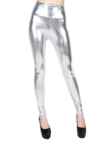 ELLAZHU Women Silver Faux Leather Leggings High Waisted Pants One Size -