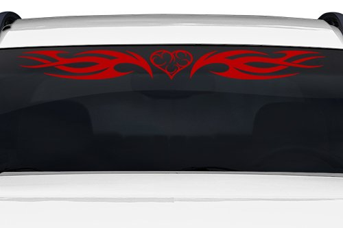 Sticky Creations - Design #118-01 Heart Tribal Flame Swoosh Windshield Decal Sticker Vinyl Graphic Back Rear Window Banner Tailgate Car Truck SUV Boat Trailer Wall | 36