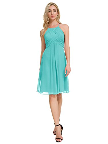 Alicepub Chiffon Bridesmaid Dresses Halter Cocktail Dress Short Homecoming Party Dresses, Tiffany, US10