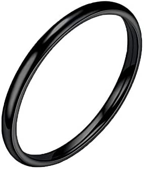 8, Black Allywit Sterling Silver Ring High Polish Plain Dome Tarnish Resistant Comfort Fit Wedding Band Ring