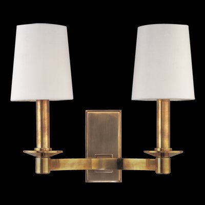Vernon 2-Light Picture Light - Aged Brass Finish with Aged Brass Brass Shade