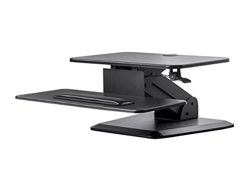 Monoprice Height Adjustable Free Standing Base, Gas Spring Sit Stand Riser Desk Converter - Black, 24 Inch Table Top Workstation | Easy To Use, Compatible With Most Desks (Freestanding Mid Range)