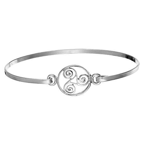 - Silverly Women's .925 Sterling Silver Round Celtic Triple Spiral Triskele Triskelion Bangle Bracelet