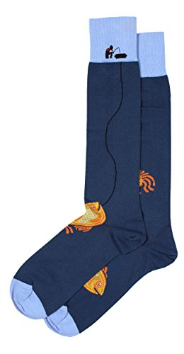 Colorful Men's Pima Cotton Blue Dress Socks, Detailed Fishing Theme with ()