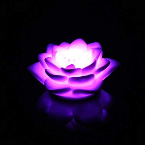 Uonlytech 10pcs LED Lotus Night Light Colorful Water Lily Candles Lantern Flower Night Light for Home Festival Party Pool Decor -
