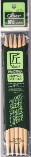 (Clover 72692 Bamboo Double Point Knitting Needles 7 in. 5-Pkg-Size 10.5)