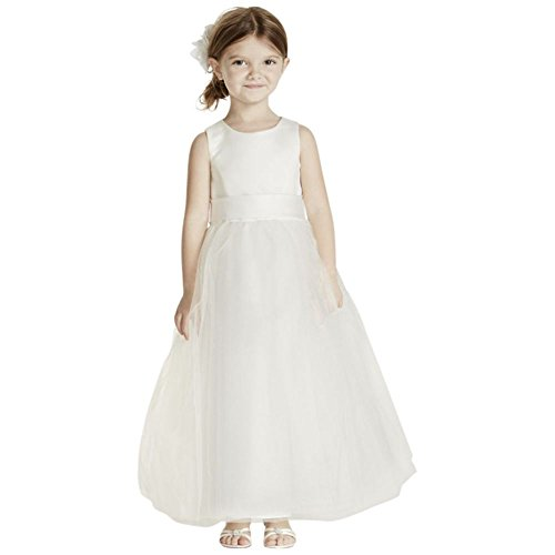 - David's Bridal Satin Flower Girl/Communion Dress With Tulle Skirt Style S1038, Ivory, 12