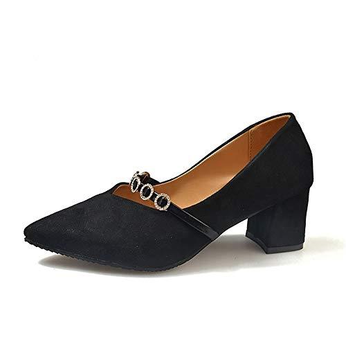 ZHZNVX Heel Fall Polyurethane PU Pointed Heels Basic Shoes Black Pink Beige Pump Toe Pink Chunky Women's rzwfBr
