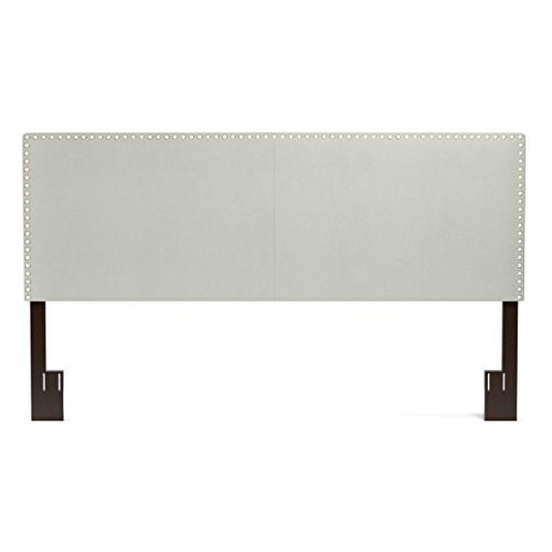 Price comparison product image Padded Headboard Accented with Hand-tacked Pewter Nail Head Trim (Queen, Gray)