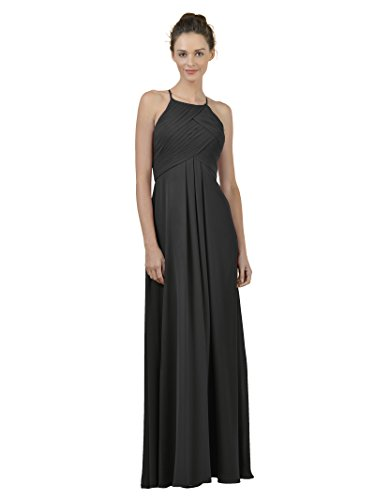 A-line Spaghetti Strap Evening Gown (Alicepub Long Chiffon Bridesmaid Dress Maxi Evening Gown A Line Plus Party Dress, Black, US4)