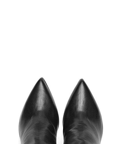 Poi Lei PoiLei Damen Klassischer Langschaft-Stiefel mit Block-Absatz Clara Echt-Leder Stiefel Schwarz