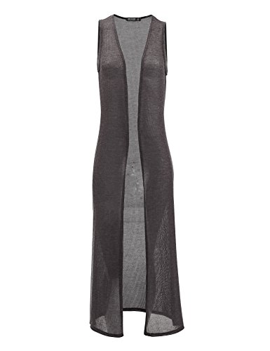 Lightweight Sleeveless (Come Together California WSK1526 Womens Lightweight Sleeveless Long Cardigan Vest with Side Slit XL Charcoal)