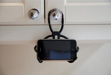 Flexible Universal Phone Car Holder Mount and Stand For iPhone 4S, 5 and Andriod Phones - (Black)