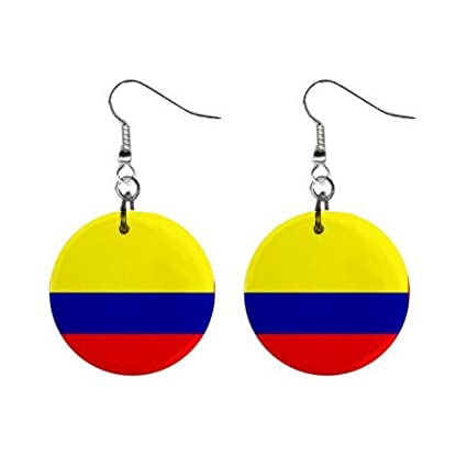 Amazon.com: Colombia Flag Button Earrings: Everything Else